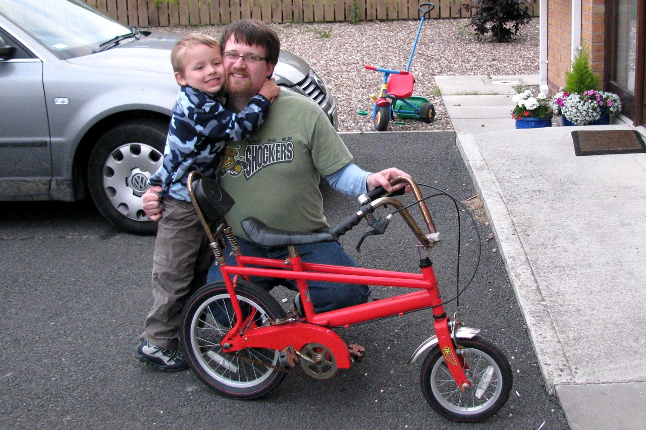 bike and boy and dad